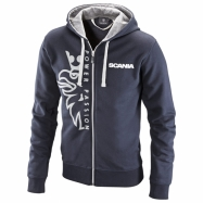 Basic zip hoodie with Griffin print navy
